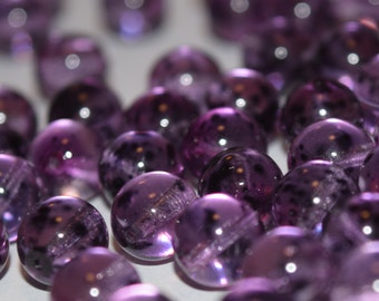 8mm Speckled Amethyst Beads, Purple Round Beads With Specks, Czech Glass Beads