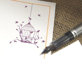 Personalized Stationery Set  |  Bird Cage Stationery Set  |  Set of 20
