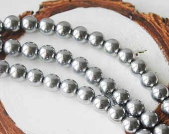 8mm Silver Round Hematite Gemstone Silver Gemstone Beads Jewelry Supply