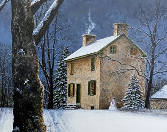 Snow Painting - Winter Landscape - Moon Painting - Country Prints - House Snow Trees - Matted Prints