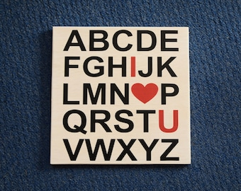 Baby's Room Art, Nursery Decor Painting, ABCs I Love You - I Heart U. Solid Wood, Hand Painted 1-sided sign