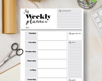 Instant Download Printable Planner Weekly Portrait Page - Black and White Weekly Planner Download A4 & Letter | #525