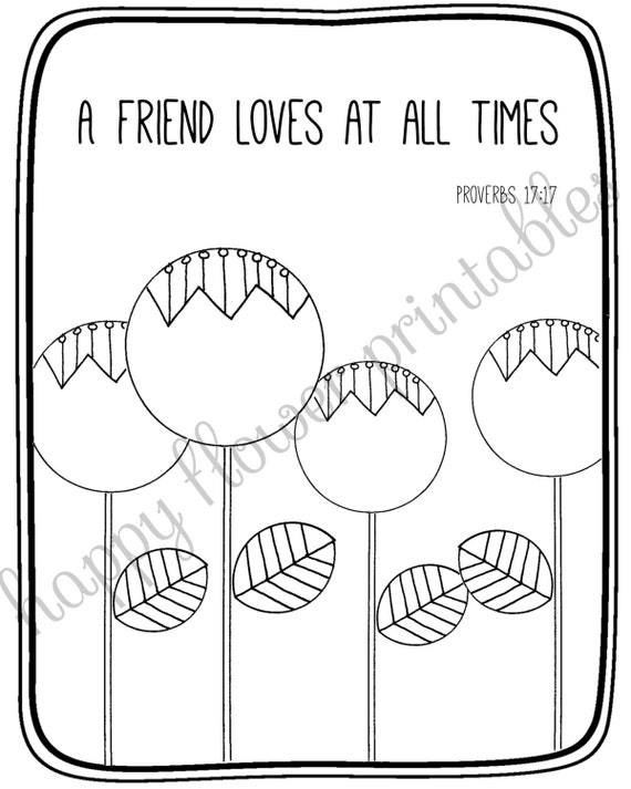 A Friend Loves At All Times Coloring Page Coloring Pages