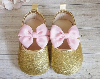 Pink and Gold First Birthday Outfit - Gold Baby Shoes - Pink and Gold First Birthday - Pink and Gold Baby Shoes, First Birthday Outfit Girl