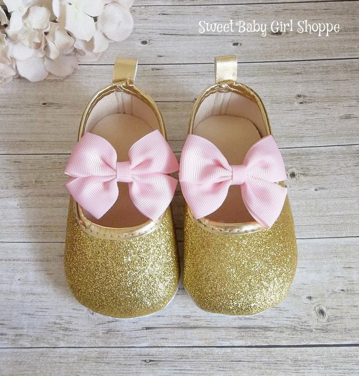 pink and gold birthday gold baby shoes pink