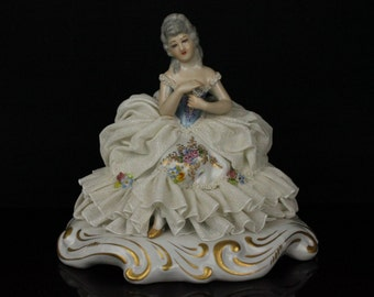 Antique Capodimonte San Marco Figurine Lady with Flower