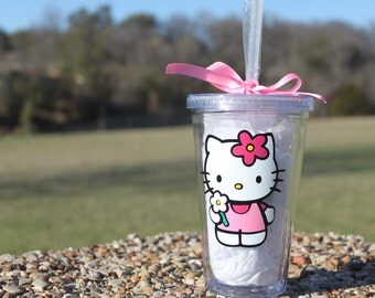 Hello Kitty with flower clear tumbler/ personalization available