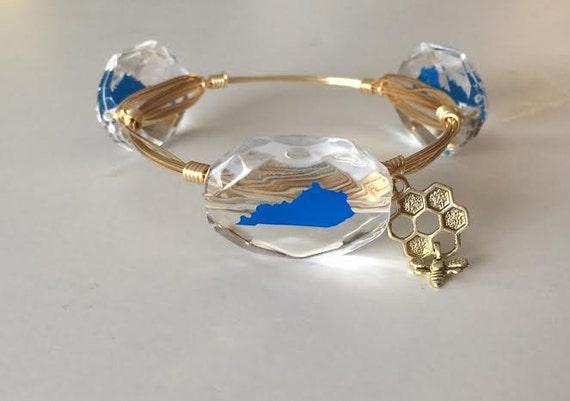 UK bangle bracelet, Kentucky bangle bracelet, Ky bangle, Wire wrapped bangle, BBN, U.K. Jewelry, U.k. Bangle, U.K. Bracelet