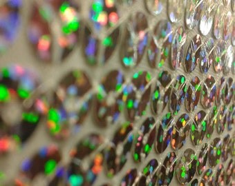 Silver Sequin Hologram Spandex Fabric