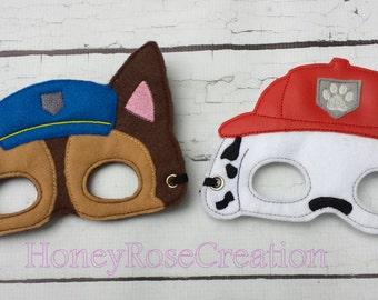 Felt Paw Patrol mask.Embroidered Paw Patrol mask.