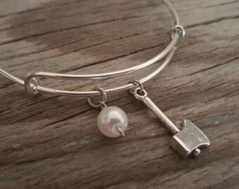 Ax Bangle Bracelet - Lumberjack Gift - Lumberjill Gift - Logger - Wood Festival Gift - Bead