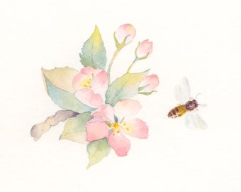 Cherry Blossoms and Honeybee Watercolor, Original Watercolor Painting