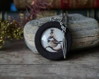 """Necklace Wood """"Fairy on bird"""""""