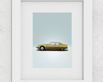 Citroën SM 2.7 - 1970 - Realistic illustration - 29,7 x 21 cm - 21 x 14,8 cm - Limited edition