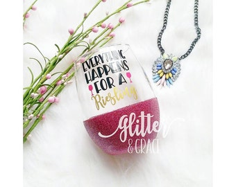 Everything Happens For A Riesling // Glitter Dipped Stemless Wine Glass