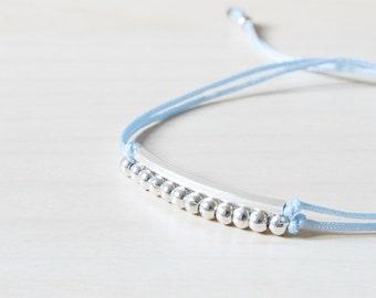 Thin Bracelet, Minimal Bracelet, Woman Bracelet, Chic Adjustable Gold Tube, Bar, Bar and thread, beads and tube bracelet