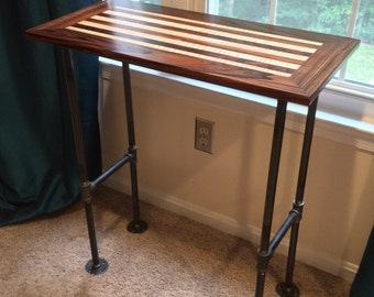 Exotic Wood Industrial Side Table, Desk, Console Table