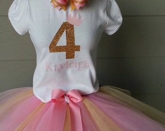 Gold and  pink birthday outfit, Girls birthday tutu, Birthday outfit, Gold shirt, Tutu, Gold birthday outfit