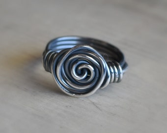 Silver Rose Ring, Wire Ring, Sterling Silver Rose Ring, Sterling Silver Filled Wire Ring, Rose Ring, Silver Rose Jewelry, Wire Wrapped Ring