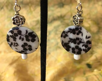White with black flowers  dangle earrings
