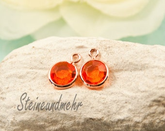 5 x pendant Ø7mm orange rose gold color way. 2541