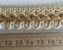 Vintage unused passementerie trim old shop deadstock French home interior fabric textile decor sewing supply antique romantic chateau style