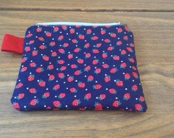 Handmade 'strawberries' purse/notions pouch