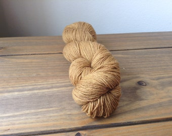 Organic Merino sportweight hand dyed with walnut leaves