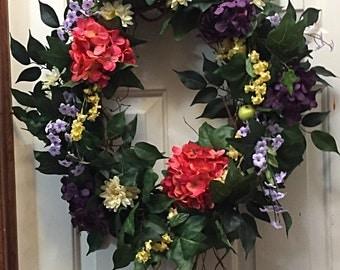 Floral Wreath, Spring Wreath, Branch Wreath, Summer Wreath, Everyday Wreath