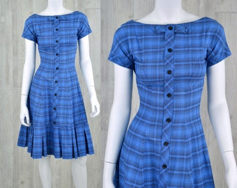 Vintage 50's Women's 2XS XS Boat Neck Blue Plaid Dress Tea Dress Casual