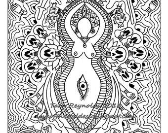 Adult Coloring Page, Mandala Coloring Page, Goddess Mandala, Kali Goddess, Goddess Print, Pagan Art, Goddess Coloring Page, Hindu Goddess