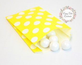 Yellow Favor Bags, 4--3/4 by 7 Inches, 12 Bags, Yellow Treat Bags, Yellow Paper Bags, Yellow Polka Dots, Yellow Wedding Favors