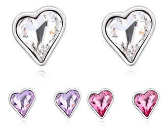 Silver Heart Shaped Stud Earrings With Austrian Crystal