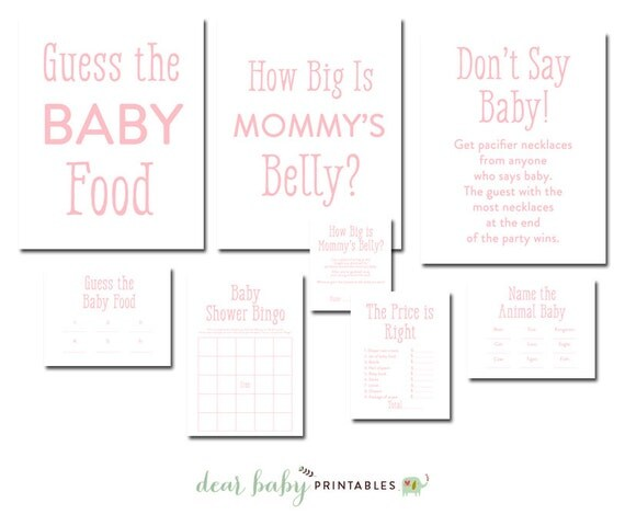 simple pink baby shower game package 6 baby shower games instant
