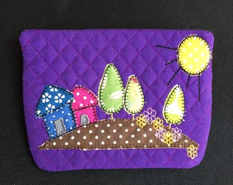 Padded purse, quilted pouch, small vanity bag, any colours, phone case, coin purse, zipped purse, make up pouch, wallet, small cosmetic bag