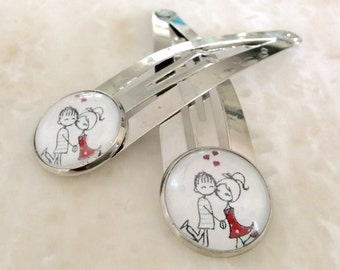 Silver hair clips / set of 2 / In Love