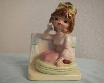 "Ceramic Holder ""Inarco"" Girl on Telephone, Vintage"