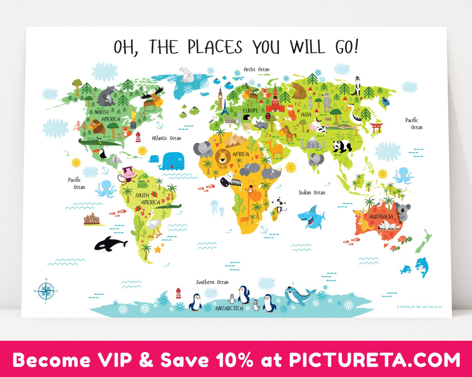 Childrens world map poster unique baby gifts first birthday zoom sciox Choice Image