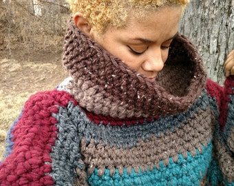 Multi color chunky heavy cowl cropped sweater