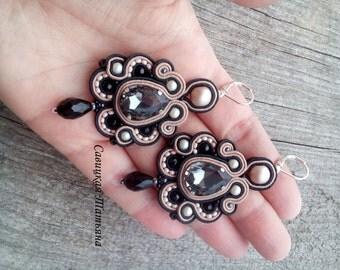 Royal Black Beige Earrings-Statement Soutache Earrings - Hand Embroidered Soutache Jewelry - Sparkling Chandelier Earrings