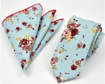 Floral Skinny Tie W/ pocket Square