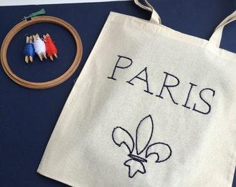 Tote-bag Paris / / hand embroidery / / shopping bag Paris / / gift / / customizable bag / / cotton bag / / hand bag / / snaps