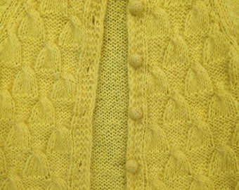 vintage yellow women's sweater, mohair cardigan, hand knitted in Italy, made for Craigs, size small