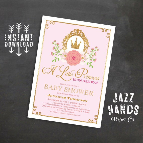 Princess Baby Shower Invitation, Pink And Gold Baby Shower