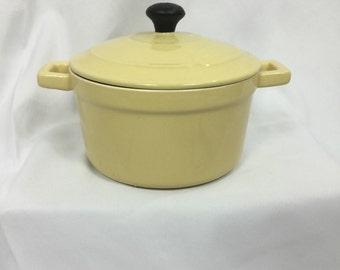 Mini Dutch Oven Pastel Yellow Enamel Chasseur - Vintage