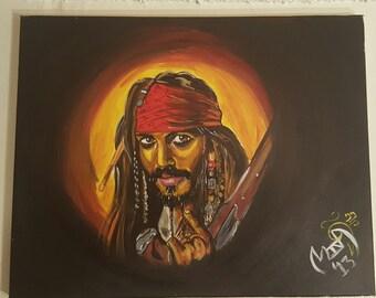 Captain Jack Sparrow acrylic painting on canvas