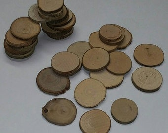 """10 Pieces of Small Natural Raw Wood Disc Slices w/Bark, 1.5"""" Average Diameter x 3/16"""" Thick (Fits FallsCityWoodworks Guestbook Alternative)"""