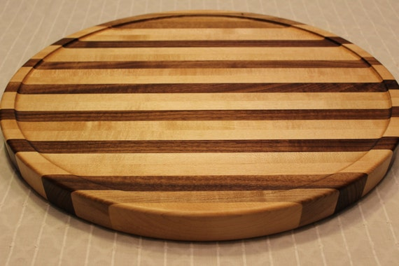 Large sloped cutting board edge grain maple and black walnut