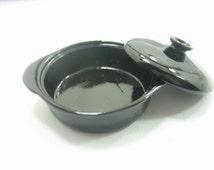 Dollhouse Miniature Cooking Equipment Tools Black Casserole Soup Pot 10928