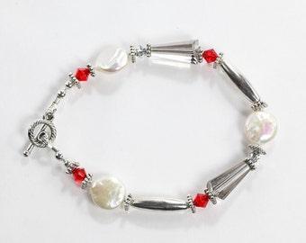 White, Silver, Red Bracelet, Freshwater Coin Pearl, Swarovski Crystal